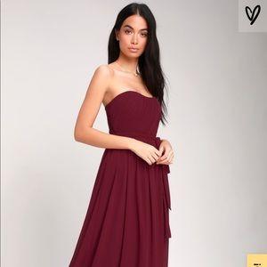 LuLu's Strapless Maxi Bridesmaid Dress